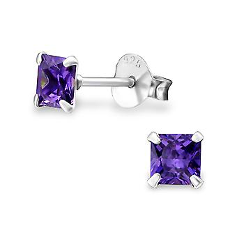 Square - 925 Sterling Silver Classic Ear Studs - W1007x