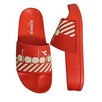 Diadora Serifos 90 Wide Barra Red Slide Mens Slip On Flip Flop Sliders C7847