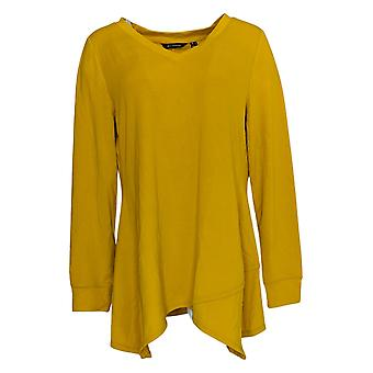 H By Halston Women's Top Long Sleeve V Neck Yellow A368047