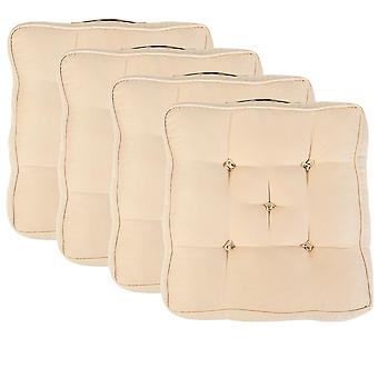 """Beige Pack of 4 Cotton Armchair Booster Cushion 4"""" Thick Seat Pad"""