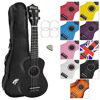 Tiger uke7 soprano ukulele for beginners includes gig bag, felt pick, spare set of strings - black u