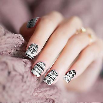 Black White Geometric Nail Wraps