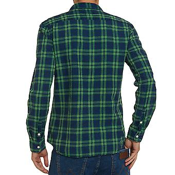 Wrangler Mens Flap Check Textured Fade Long Sleeve Button Down Shirt - Green