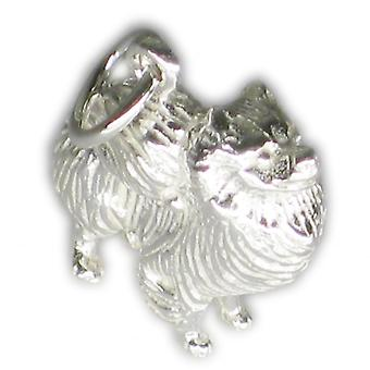 Pomeranian Dog Sterling Silver Charm .925 X 1 Pomeranians Dogs Charms --sfp - 8551