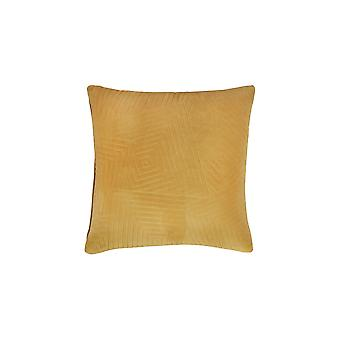20 X 20 Velvet Accent Pillow With Geometric Design, Set Of 4, Yellow