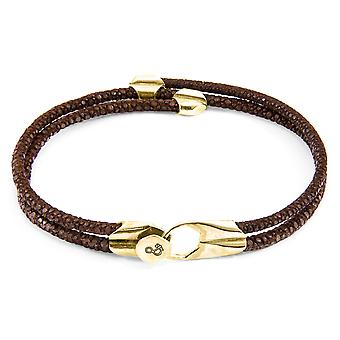 ANCHOR & CREW Conway 9ct Yellow Gold and Stingray Leather Bracelet