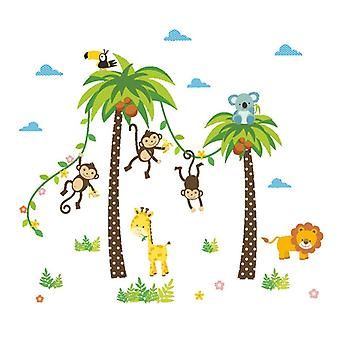Avtagbar djungeldjur klistermärken vägg, konst väggmålningar för dagis