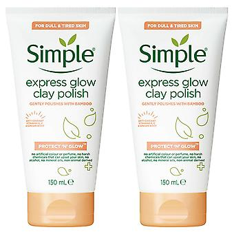 2 Pack of 150ml, Simple Protect & Glow Express Glow Clay Polish Face Wash