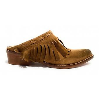 Women's Shoes Elite Sabot Texan Suede Camel With Fringe Ds20el02