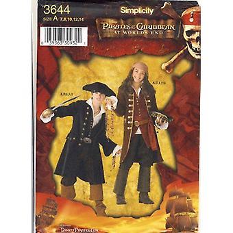 Eenvoud naaien patroon 3644 jongen meisje piraat van de Caribische kostuums maten 7-14
