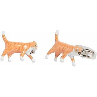 Simon Carter Ginger Tom Cat Cufflinks - Argent/Orange