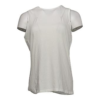 Anybody Women's Top Cozy Kind Jersey Knit Crew Neck Tank White A452466