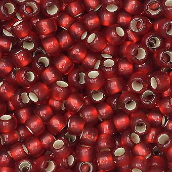 Toho Seed Beads, Round 8/0 #25CF 'Silver Lined Frosted Ruby', 8 Grams