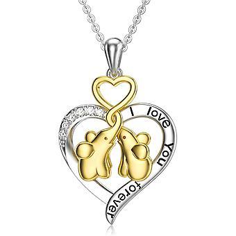 FengChun Elefant Halskette Sterling Silber Elefant Geschenke für Frauen Herz Anhänger Halskette Schmuck