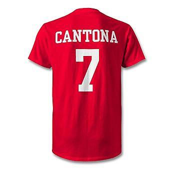 Eric kantona man utd legende kinderen held t-shirt