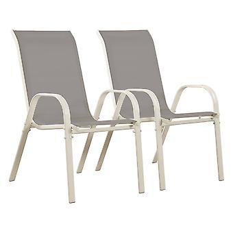 Ensemble de 2 chaises jardin Textileno «Cordoba» - Phoenix - Gris clair