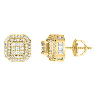 925 Sterling Silver Yellow tone Mens Cubic zirconia Octagon Fashion Stud Earrings Jewelry Gifts for Men