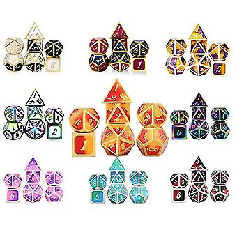 15 Metal dice set role playing dragons magic dice bar party table game hobbies gift 7pcs/set fa0455
