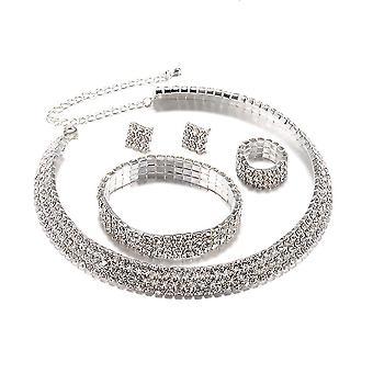 4szt Biżuteria Zestaw Rhinestone Bridal Kobiety Naszyjnik Diamond Collar Bransoletka Kolczyki na ślub