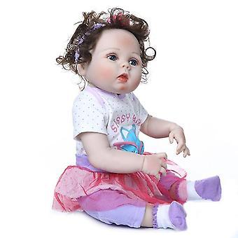 56Cm teljes test puha slicone vízálló igazi rugalmas tapintás élethű újjászületett kislány bebe baba újjászületett fürdő játék kézzel gyökerező c
