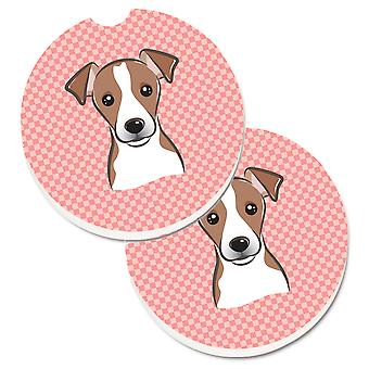 Caroline's Treasures Checkerboard Pink Jack Russell Terrier Set di 2 Cup Holder Car Coasters BB1260CARC, 2.56, Multicolor