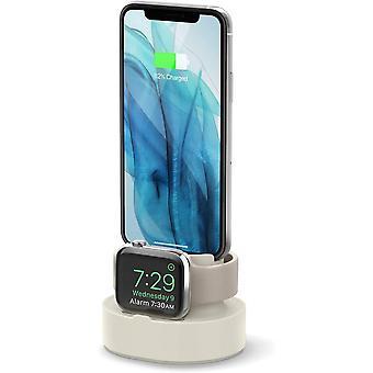 Mini Charging Hub Dual Charging Stand kompatibel med Apple Watch 38 42 40 44mm Series 6 SE 5 4 3 2 1, AirPods 2, 1, iPhone 11, XS Max, XR og mer,(hvit)