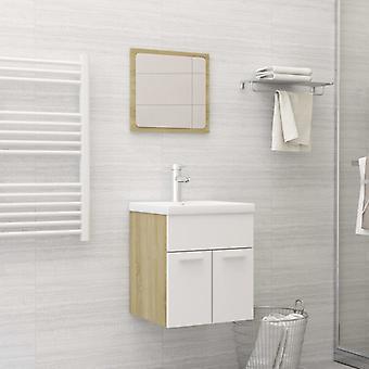 vidaXL set de meubles de salle de bains blanc et sonoma-chêne panneau de particules