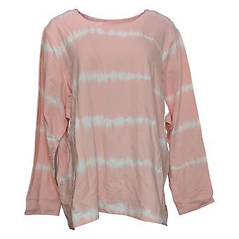 Denim &co. dame slips-fargestoff langermet genser rosa A392546
