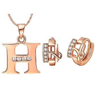 (H)  Alphabet Rhinestone Womens 26 Initial Letter Huggie Earrings Necklace Jewelry Set Rose Gold