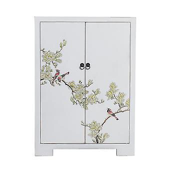 Fine Asianliving kinesiske kabinet White Håndmalede Blossoms W80xD35xH99cm