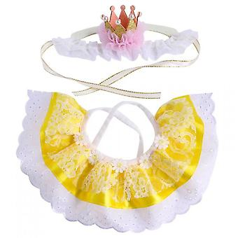 Lace Cat Bandana And Cat Crown Accessories, Small Dog Pink Costume(Yellow)