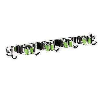 Stainless Steel Mop Hook Punch-free Multifunctional Wall-mounted Broom Holder(Green)
