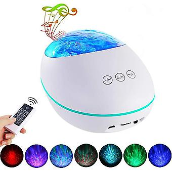 Lucky Stone Ocean Led Projection Lamp, Dream Music Atmosphere Lamp, Bluetooth Remote Control Led Children Night Light (white)
