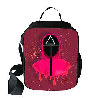 イカゲーム子供ポリエステルランチバッグ大容量スクエアクリエイティブランチバッグ断熱袋