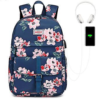 floral vanntett usb ryggsekk, passform 14 tommers bærbar PC, student skoleveske reise