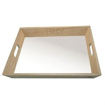 Rubber Wood Tea Tray Handles White Top Serving