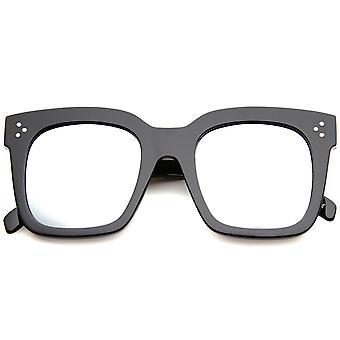 Vet oversize platte spiegel lens vierkante hoorn omrande zonnebril 51mm