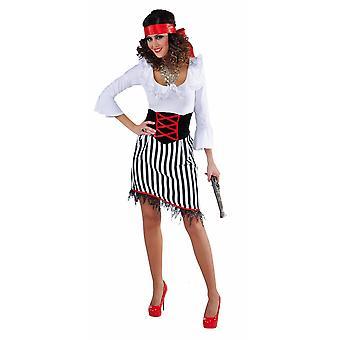 Vrouwen kostuums vrouwen piraat Lady wit/zwart gestreept