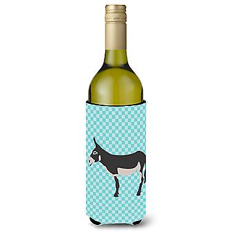 American Mammoth Jack Donkey Blue Check Wine Bottle Beverge Insulator Hugger