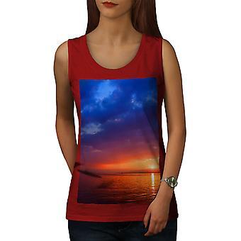 Mer nuit coucher de soleil Nature femmes RedTank Top | Wellcoda