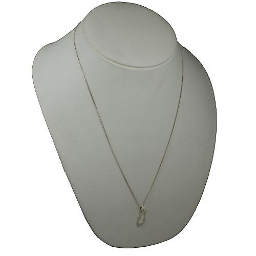 Silver 23x11mm plain Palace script Initial Q Pendant with a curb Chain 24 inches