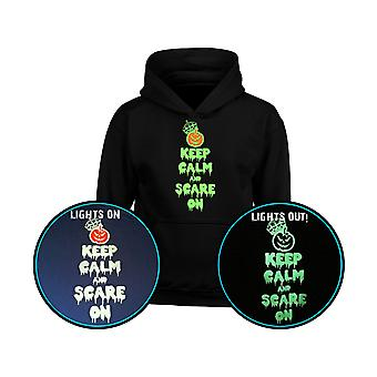 Keep Calm Scare On GLOW IN THE DARK Halloween Kids Hoodie 10 Colours (S-XL) by swagwear