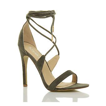 Ajvani dame høj hæl knap der strappy satin slips op sandaler sko
