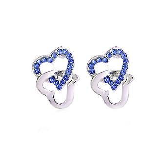 Womens Silver Tone Stud Earrings Dark Blue Stones Chained Heart Diamante