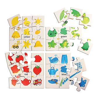 Bigjigs おもちゃ教育色パズル セット 1 セット 4 パズルのジグソー パズルを学ぶ