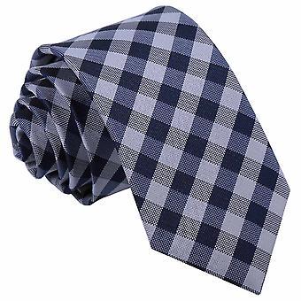 Granatowy bawełniany materiał w kratkę wyboru wąski krawat