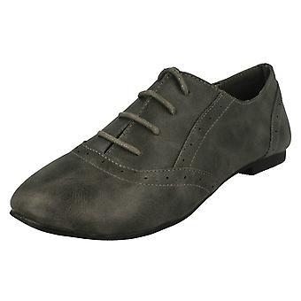Ladies Spot On Flat Lace Up Brogue Shoe