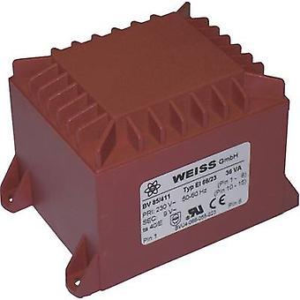 Weiss Elektrotechnik 85/412 PCB mount transformer 1 x 230 V 1 x 12 V AC 36 VA 3 A