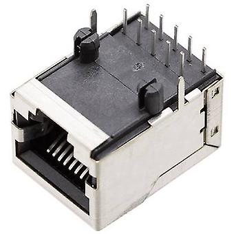 """بيل """"ستيوارت موصلات"""" 1409-3000-04 مأخذ توصيل منفذ RJ45 1409-3000-04، الحق بزاوية المغلفة بالنيكل، والمعادن"""