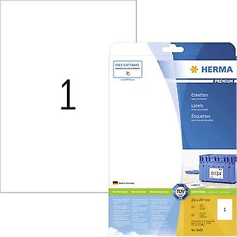 Herma 5065 Labels 210 x 297 mm Paper White 25 pc(s) Permanent All-purpose labels, Shipping labels Inkjet, Laser, Copier 25 Sheet A4
